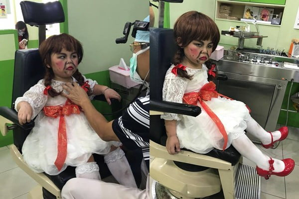 asian boy in annabelle for halloween costume
