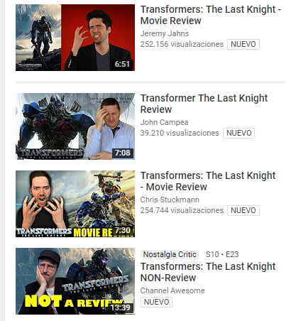 YouTube reviewers reviewing the latest Transformers movie