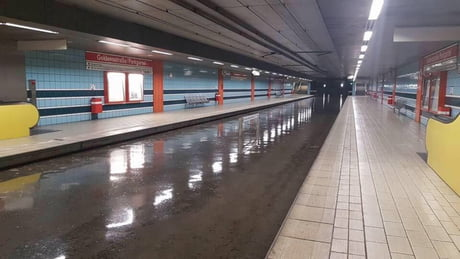 The Subway in Cologne after big thunderstorm yesterday. Looks like a berth for submarines...